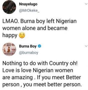 "buuuu 295x300 - ""Love Is Love, Nigerian Women Are Amazing"" – Burna Boy Replies Twitter User"