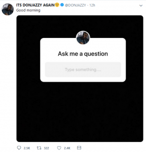 don 1 288x300 - #GIVEAWAYSEASON: Mavins CEO, Don Jazzy gives out 100,000 Naira to 3 fans on Twitter