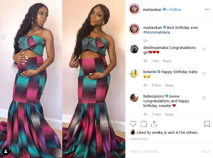 Media personality, Maria Okan Flaunts Her Baby Bump As She Clocks 32