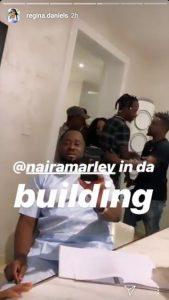 Naira Marley Visits Regina Daniels And Other Nollywood Actors On Set