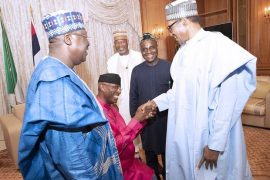 Trending!!! New DSP Omo-Agege kneels to greet Buhari