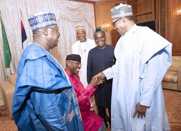 Trending!!! New DSP Omo-Agege kneels to greet Buhari