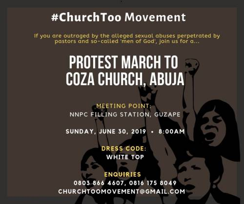 protest - #CHURCHTOO: Nigerians Set Protest Date To Storm COZA Church In Abuja Following Pastor Biodun Rape Allegations