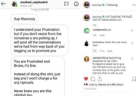 Naijaloaded Boss Makinde Fires Back At Waconzy