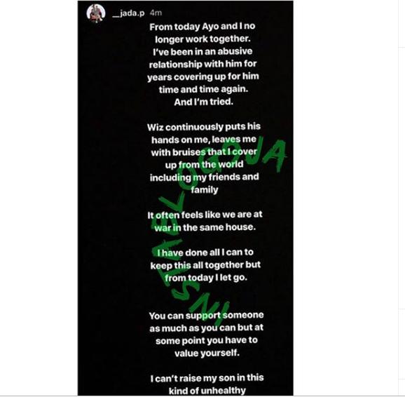 'Wizkid Is An Abuser' - 3rd Baby Mama Jada Pollock Alleges