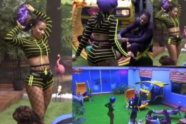 #BBNaija 2019: Frodd Leads Male Housemates In Prayers  After Seeing Mercy In A Fish-Net Tight (Video)