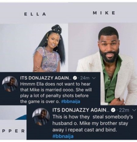 Bbnaija: Don Jazzy Reacts As Ella Crushes Over Mike