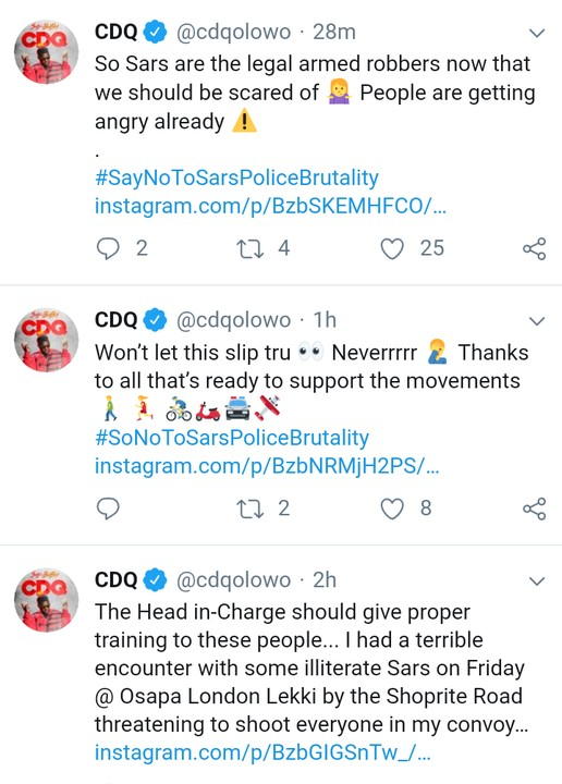 9751280 screenshot20190702210421 jpeg8133dbddc7489501e02080fc25c9d2c1 - Nigerian Rapper, CDQ, Recounts Ordeal With SARS Officials Who Threatened To Kill Everyone In His Convoy