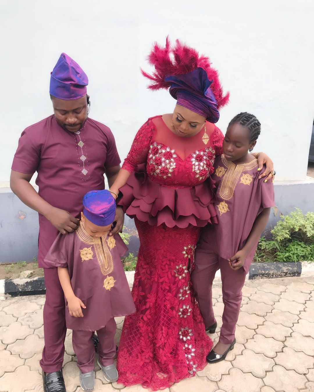 Segun Ogungbe, his wife and children