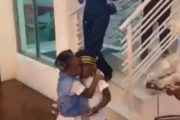 Davido's Daughter, Imade Hugs Tiwa Savage's Son, Jamil On His Birthday