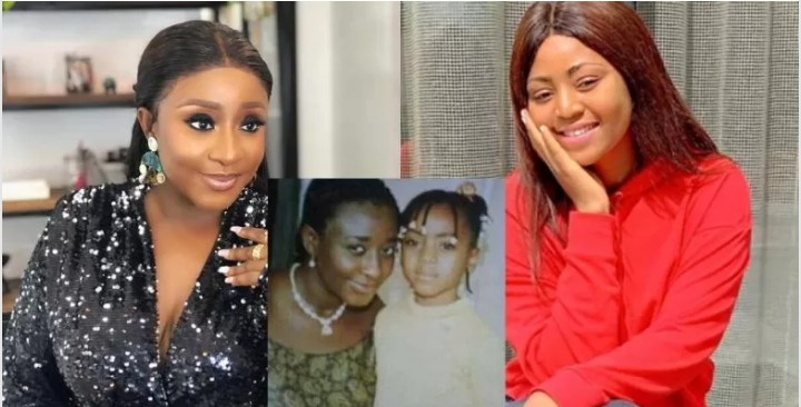 Nigerians React To Throwback Photo Of Ini Edo With Regina Daniels As A Little Girl
