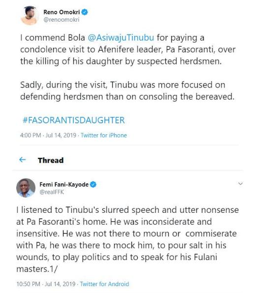 'Tinubu's Utter Sluured Speech At Pa Fasoranti's Home Was Insensitive - FFK and Reno Omokri
