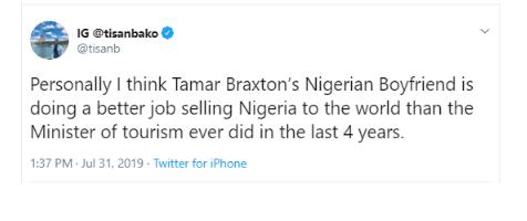 'Tamar Braxton's Boyfriend Is Doing A Better Job Than The Minister Of Tourism' - OAP Tisan Bako