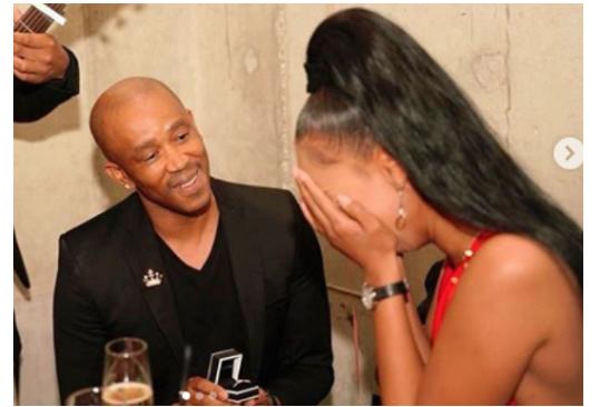 [Photos]: Mafikizolo's Theo Kgosinkwe proposes to his girlfriend Vourne Williams