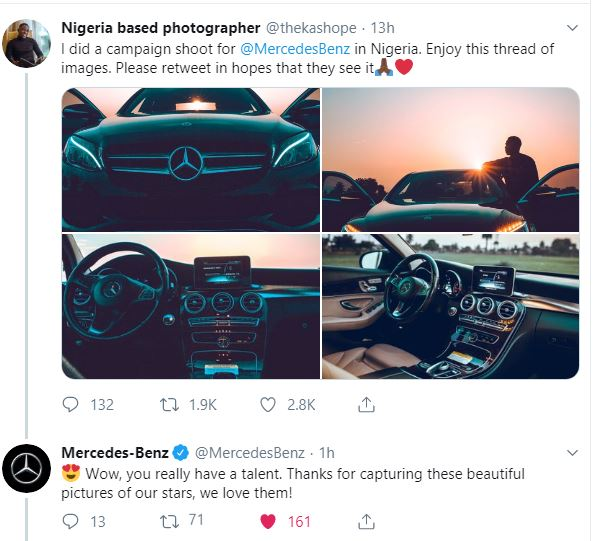 MB1 1 - [Photos] After Photo Shoot, Nigerian Photographer Gets Attention From Mercedes Benz