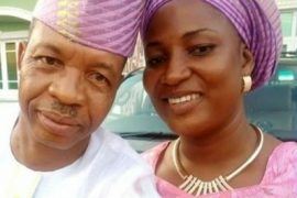 Saka and his wife, Olaide
