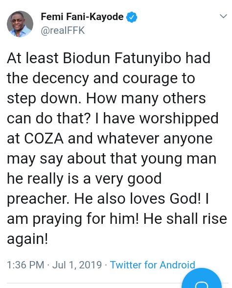 Screenshot 20190701 1739112 - 'I Will Keep Praying For You' – Femi Fani-Kayode Reacts To Biodun Fatoyinbo's Leave Of Absence
