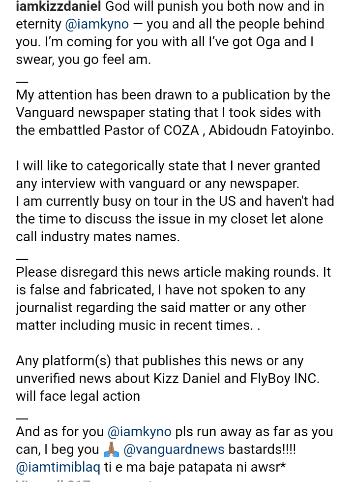 Screenshot 20190703 2202552 - Kizz Daniel Threatens Legal Action Against Vanguard Newspaper