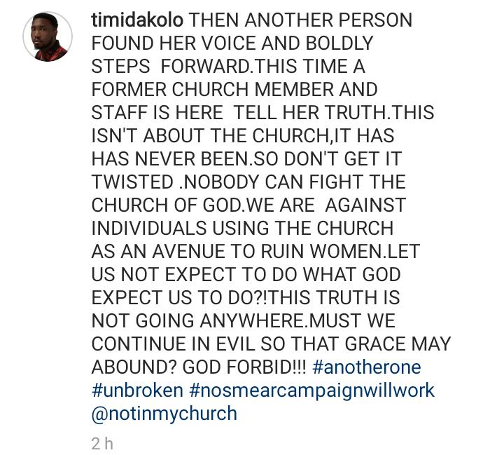 Screenshot 20190704 1214032 - COZA: Timi Dakolo Reacts To New Rape Allegation Against Pastor Fatoyinbo