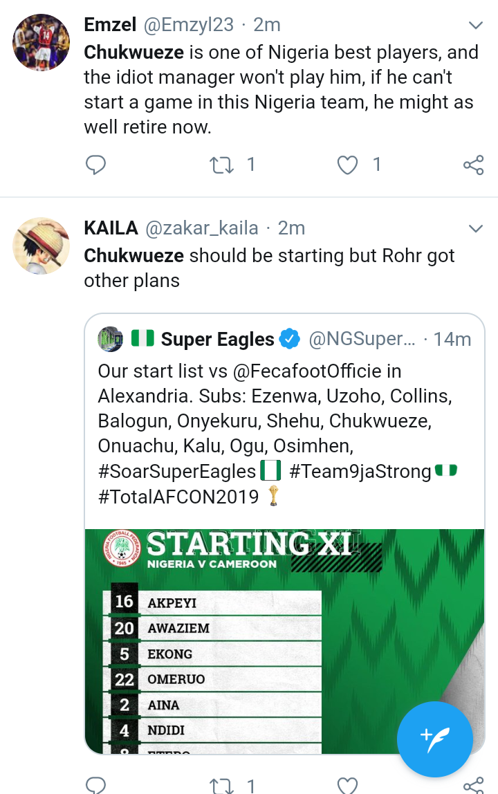 Screenshot 20190706 1615232 - AFCON2019: Nigerians Blast Gerbot Rohr Over Chukwueze's Absence From Super Eagles Team