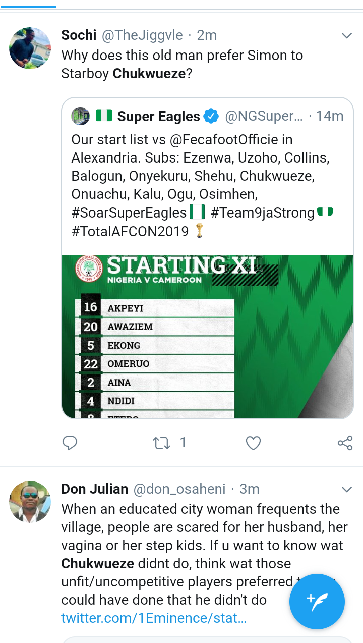 Screenshot 20190706 1615412 - AFCON2019: Nigerians Blast Gerbot Rohr Over Chukwueze's Absence From Super Eagles Team