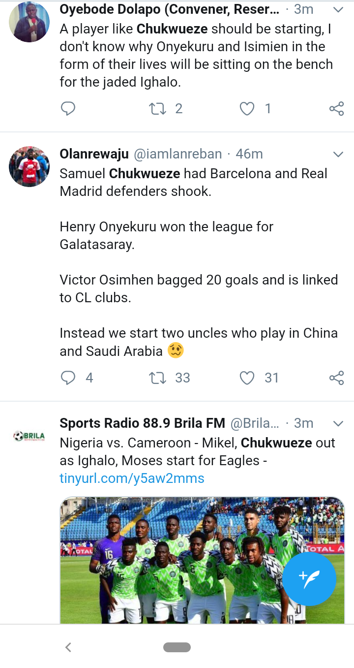 Screenshot 20190706 1616062 - AFCON2019: Nigerians Blast Gerbot Rohr Over Chukwueze's Absence From Super Eagles Team