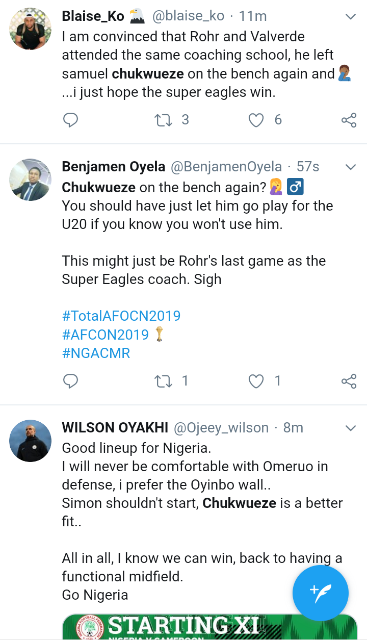 Screenshot 20190706 1616202 - AFCON2019: Nigerians Blast Gerbot Rohr Over Chukwueze's Absence From Super Eagles Team