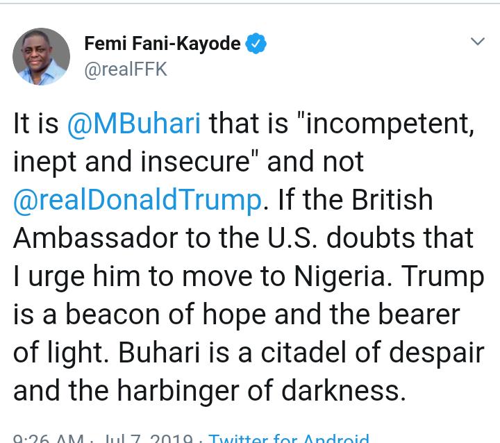 Screenshot 20190707 1805032 - Fani-Kayode Attacks Buhari, Says President Is Buhari Citadel Of Despair, Harbinger Of Darkness