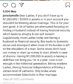 Screenshot 20190722 104256 540x625 - If You Dont Have N1Million In Your Account, Don't Think Of Getting Married — Relationship Expert Tells Ladies