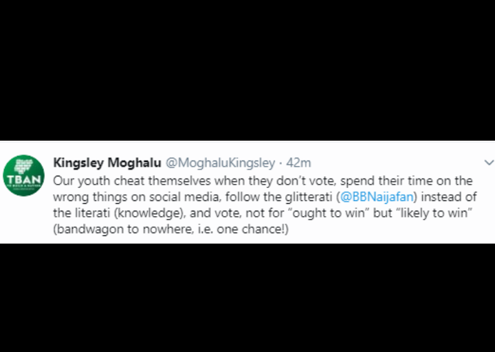 Screenshot 20190722 1443322 - Kingsley Moghalu Reveals How Youths Are Wasting Time Watching BBNaija