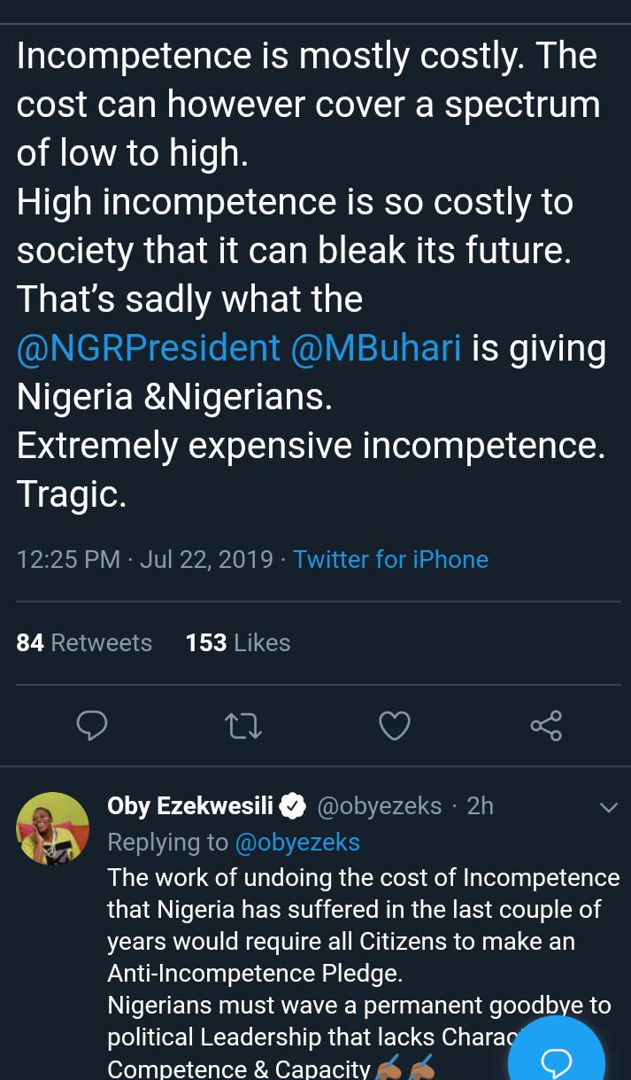 Screenshot 20190722 1505032 - 'Nigeria Is Suffering From Buhari's Incompetence' – Oby Ezekwesili