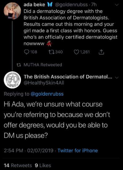 Ada Beke's tweet
