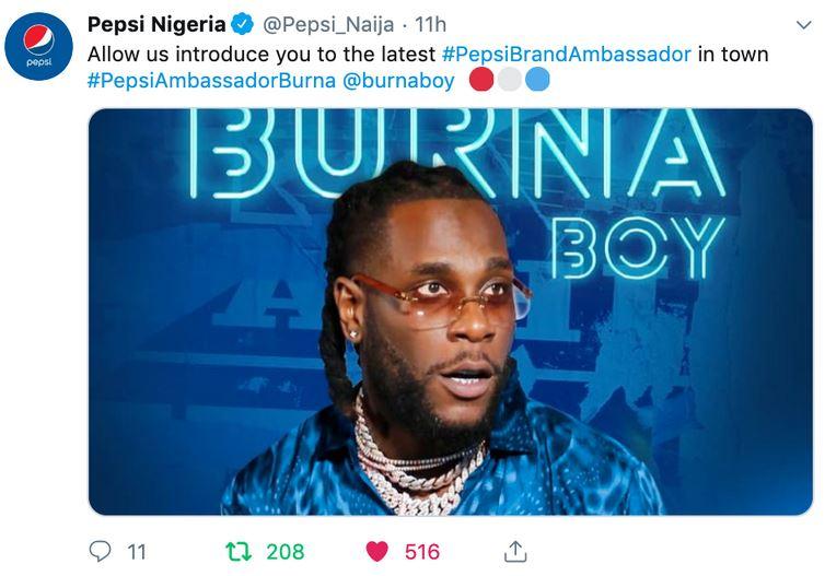 bbnaija - Burna Boy And Teni Become New Pepsi Brand Ambassadors