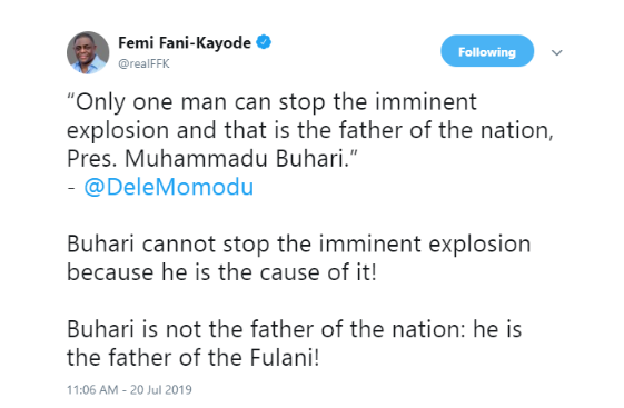 'Buhari Is The Father Of The Fulanis Not Of The Nation' - FFK Comes For Dele Momodu