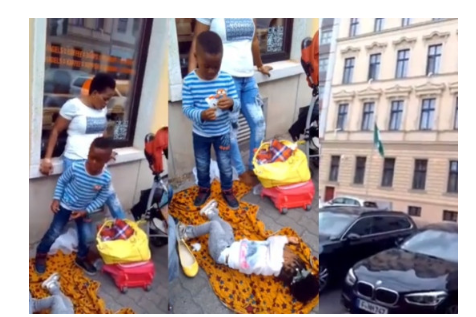 Nigerian Embassy In Germany Reacts To Viral Photo Of stranded Nigerian woman And Her kids Sleeping Outside Their office