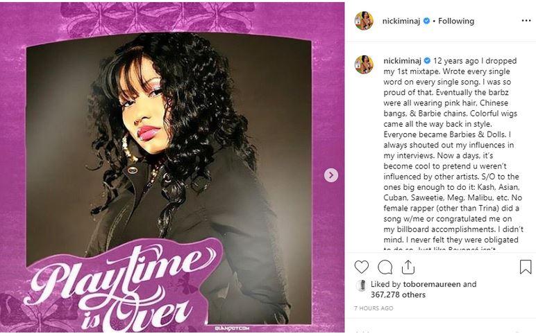 niicck - Nicki Minaj Rants On Instagram; Shades Cardi B