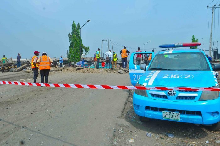 scene 1 Members of the FRSC at the scene of the accident e1547204695855 - Three Die As Bus Plunges Into River In Ogun