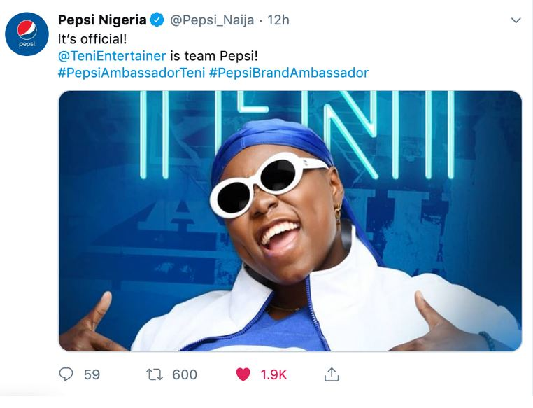 teni - Burna Boy And Teni Become New Pepsi Brand Ambassadors