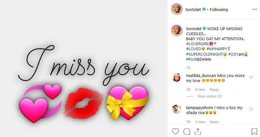 Tonto Dikeh's Instagram post