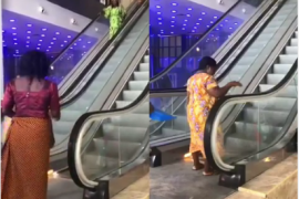 the woman on escalator