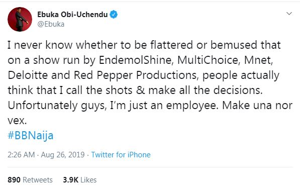 "10106793 eb jpeg1f668ca0902de16ab05e2e46417e6d26 - BBNaija2019: ""I Am Just An Employee"" – Ebuka Reacts To Insults On Social Media"