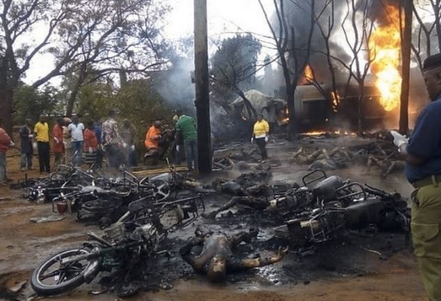 [Photos]: 57 Burnt To Death While Scooping Oil From A Tanker In Tanzania