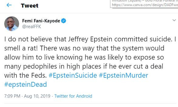 'I Do Not Believe Jeffrey Epstein Committed Suicide' - FFK