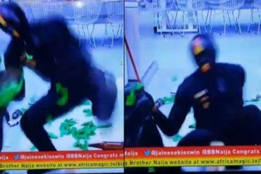 Funny Moment BBNaija Ninja Fell While Messing Up The House (Video)