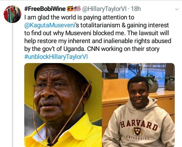5d666e0d4eb42 - Harvard Student Sues Ugandan President For Blcoking Him On Social Media