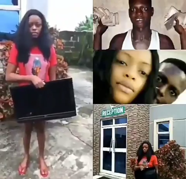 Young Lady Caught Trying To Steal Plasma TV From Hotel She Lodged