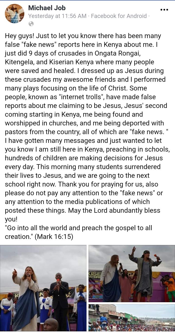Michael Job A.K.A. Kenyan Jesus