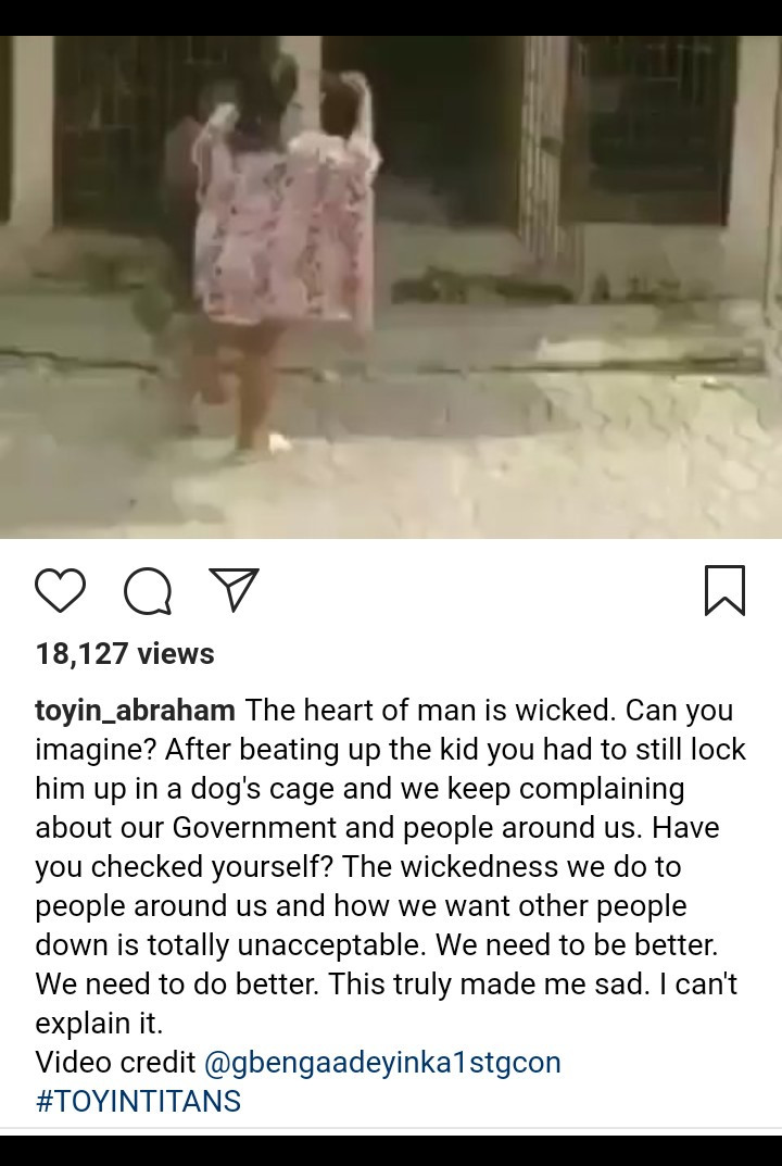 Screenshot 20190804 1854162 - Toyin Abraham Reacts To Video Of Woman Flogging Boy And Putting Him In A Cage With Dogs