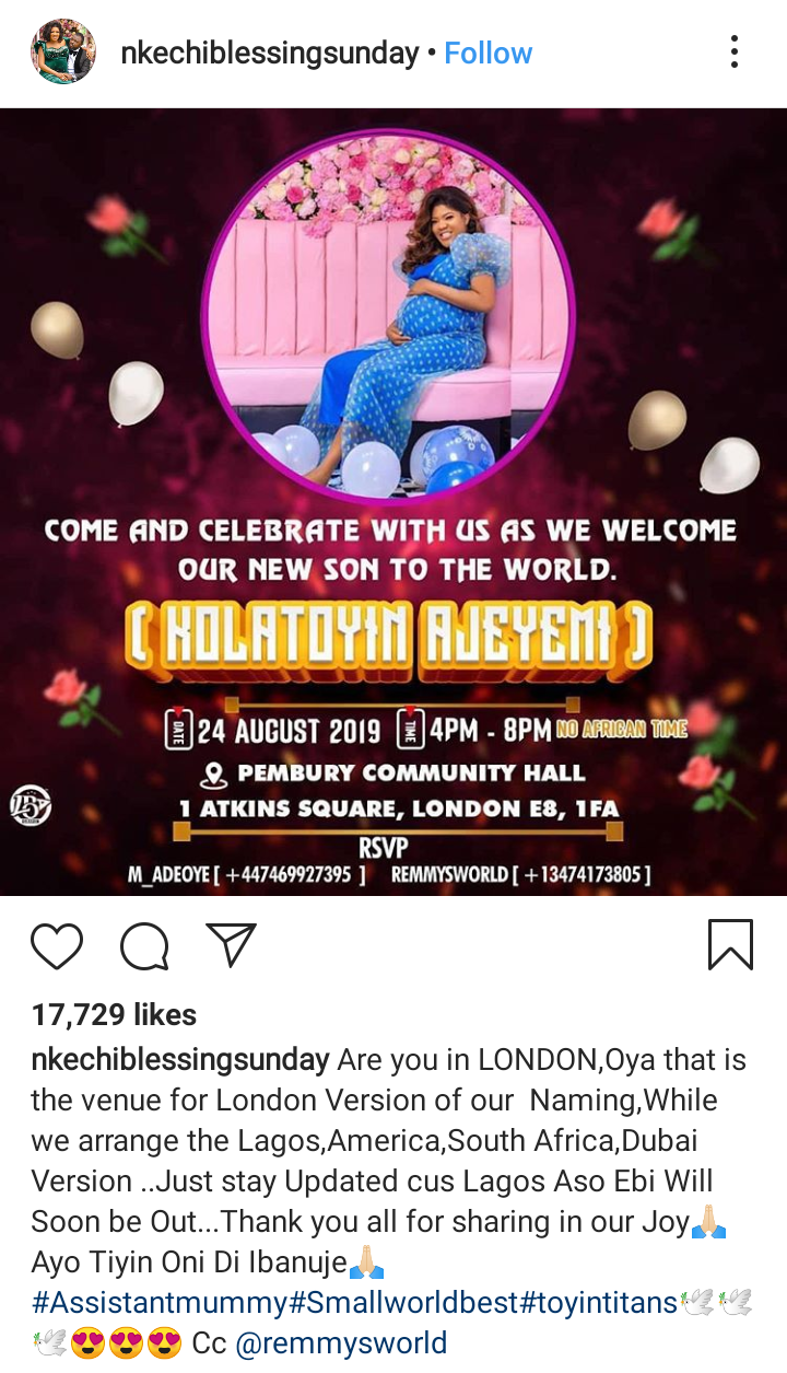 Screenshot 20190816 1508252 - Toyin Abraham Reveals Baby's Name; To Throw Welcome Party In London