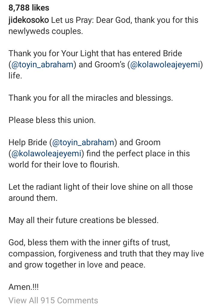 Screenshot 20190816 1535312 - Jide Kosoko Calls For Prayers For Toyin Abraham And Kola Ajeyemi's Marriage